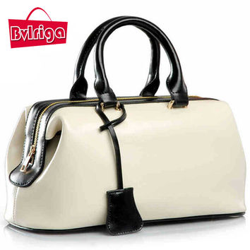 Bvlriga Solid Genuine Leather Handbags For Women V8g165