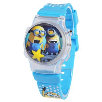Cartoon Despicable Me Minions style Hello Kitty mickey Children Watch Fashion Silicone Sports Digital Watches Kid Christmas Gift