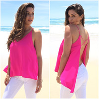 Rexford Open Back Tank In Magenta