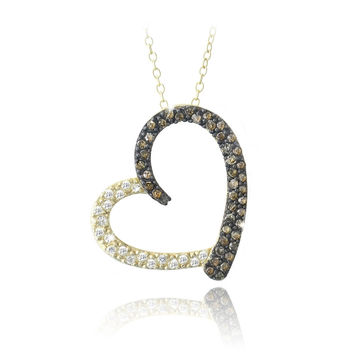 Gold Tone over Sterling Silver 2/5ct Champagne Diamond & White Topaz Open Floating Heart Necklace