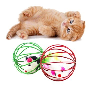 Hot Sale Pet Cat Funny Playing Toy Teal Fake Mouse Mice Rat in Cage Ball Products For pet cute cat accessories
