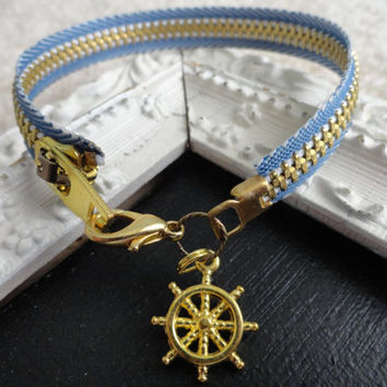 Nautical Zipper Bracelet with Ship's Wheel by SugarandSoySauce