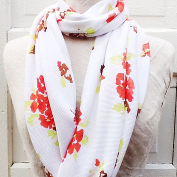 Summer Scarf, Women's Floral Loop Scarf, Cotton Jersey Infinity Scarf, Spring Accessories
