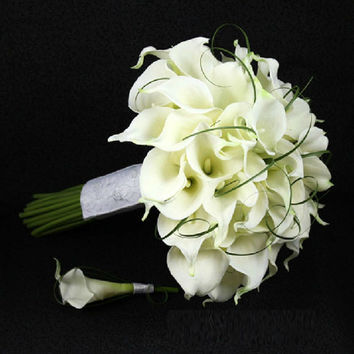 Elegant Style HandMade PU Calla Lily Artificial Flower 1Pc Wedding Bride Bouquet And 1 Pc Groom Boutonniere Set Wedding Supplies