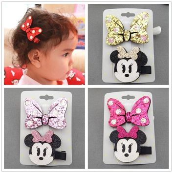 hair accessories clip bows clips barrettes kawaii mickey headdress girls rubber band kids hairclip bow hairpin hairgrip headwear