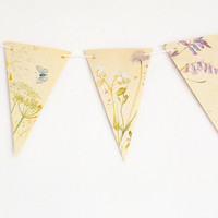 Paper garland, Paper bunting, Lilac flowers, blue floral decor, pennants banner, flower bunting, wedding pennants, wedding decor