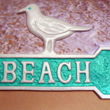 Seagull Beach Arrow Sign Cast Iron Wall Plaque White Sea gull Bird Dip in The Pool Aqua Accent This Way Wall Decor Nautical Beach Coastal
