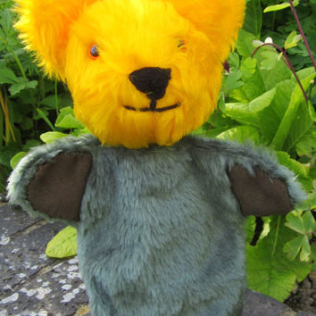 OAAK Bear Hand Puppet Yellow Green Plush Classic Creative Activity Toy Handmade  COLDHAMCUDDLIES Boy or Girl Presents  Easter Basket Filler