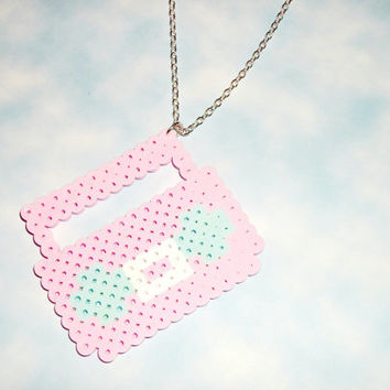 Kawaii Boombox Pastel Pink Perler Retro Kitsch Necklace