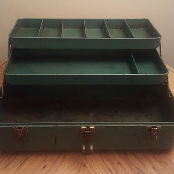 Vintage Metal Tackle Box My Buddy Tackle Box Falls City Tackle Box My Buddy 252 Metal Tackle Box Tool Box Jewelry Storage Rustic Decor