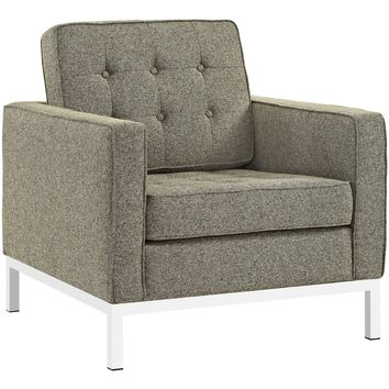 Loft Living Room Set Upholstered Fabric Set of 3 in Oatmeal