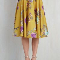 Vintage Inspired Long Full Ikebana for All Skirt in Floral