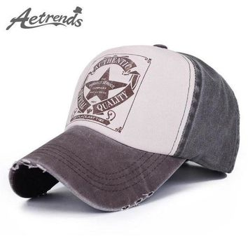 PEAPON [AETRENDS] 6 Colors ! Star Patchwork Baseball Cap Men or Women Polo Hats Z-1462