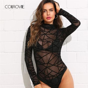 COLROVIE See-Through Mesh Bodysuit Summer Long Sleeve Lace Women Clothes Stand Collar Skinny Plain Sexy Sheer Bodysuit
