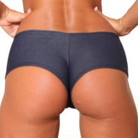 Blue Denim BASIC BOOTY SHORT-Stripper Clothing