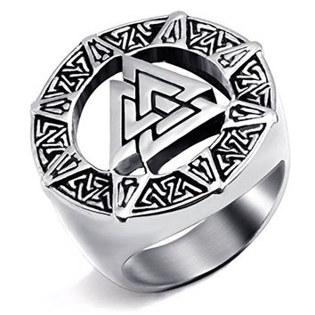 Stainless Steel Ring Band Valknut Scandinavn Odin Symbol
