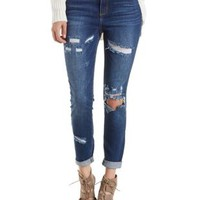 Med Wash Denim Cello Destroyed Skinny Jeans by Charlotte Russe