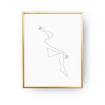 Woman Pose Print, One Line Figure, Simple Sketch, Black And White, Minimalist Art, Woman Silhouette, Minimalist Female Body, Female Art