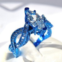 Blue Rhodium Plated Special Occasion Ring Marquis Cut CZ Size 7 only LAST ONE Infinity Band Cocktail Anniversary Promise