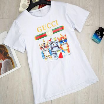 GUCCI Stylish Round Collar Three Little Kittens Print T-Shirt Pullover Top White