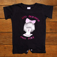 Less Patriarchy More Pink -- Baby Onesuit