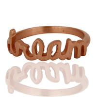 "18K Rose Gold Plated Sterling Silver Cursive Style ""Dream"" Letter Ring"