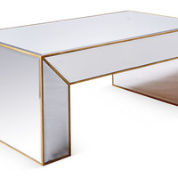 Charlotte Mirrored Coffee Table, Gold, Cocktail Table, Coffee Table Base
