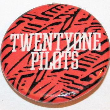 "Licensed cool 21 Twenty One Pilots Music Band Red/Black Pattern 1 1/4"" Button Pin Back Pinback"