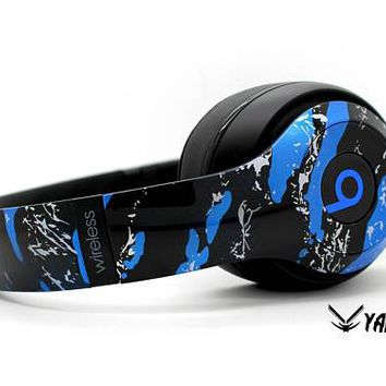 Custom Blue Splatter Beats By Dre Headphones - Bluetooth Studio Headset - Customizable Beats Gift for him - Studio 1.0 Studio 2.0