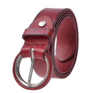 O Ring Buckled Leather Belt up to 39 Inch