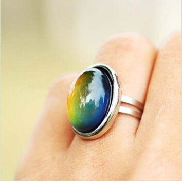 DCCKU62 2016 Crystal Jewelry Changing Color Mood Ring Temperature Emotion Feeling RINGS MOOD Adjustable Size Gifts event party  Supplies