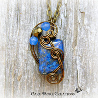 Lapis Lazuli Wire Wrapped Pendant Necklace in Antique Bronze Wire