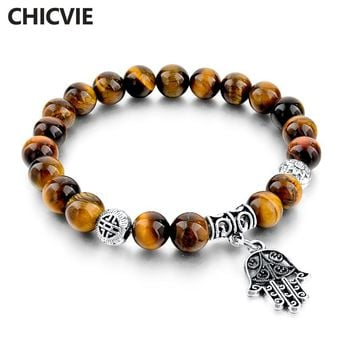 CHICVIE Vintage Natural Stone Evil Eye Charm Bracelets For Women Men Silver Color Fatima Hand Bracelet Femme With Stones Jewelry