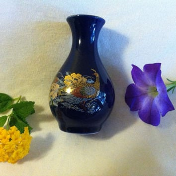 Cobalt Blue Vase Vintage Asian Gold and Blue Pheasant Vase Blue Mini Bud Vase With Gold Oriental Floral Design 1970's Japanese Small Vase