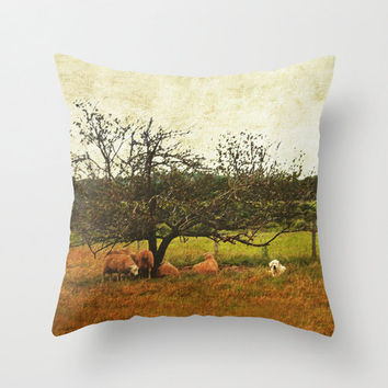 Sheep and Dog Under the Apple Tree in Green and Brown Fall Colors - Throw Pillow Cover - Vintage Inspired