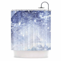 """Ulf Harstedt """"Even Mountains Get Cold"""" Blue White Shower Curtain"""