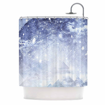 "Ulf Harstedt ""Even Mountains Get Cold"" Blue White Shower Curtain"