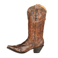 Stetson Floral Cutout Boot Distressed Mocha/Burnished Tan - Zappos.com Free Shipping BOTH Ways