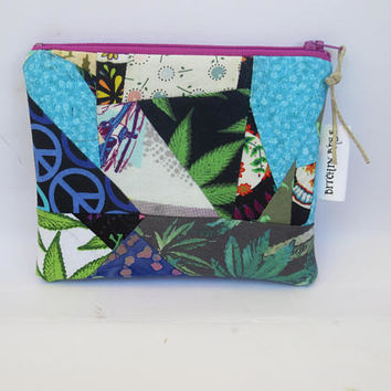 Crazy Quilt Pouch - Cannabis - Peace Sign - Batik pieced Pouch - Patchwork Zip Pouch
