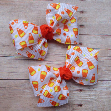 Halloween hair bows - candy corn pigtail bows, candy corn bows