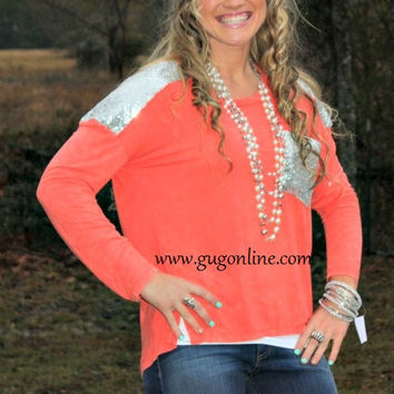 Glitz and Glam Silver Sequins on Coral Long Sleeve Top