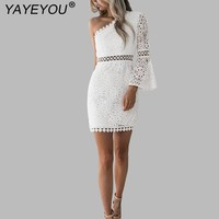 YAYEYOU Sexy Women White Lace Dress New 2018 Summer One Shoulder Hollow Out Party Club Dresses Robe Vestidos