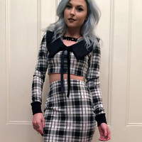 Black and White Plaid Long Sleeve Two Piece Dress MADE TO ORDER