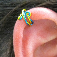 Ear Cuff, Ear Wrap - Twisted Peacock Blue & Yellow
