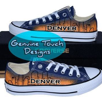 Hand Painted Converse, Denver, Skyline, Colorado, Custom converse, Birthday Gifts, Chr