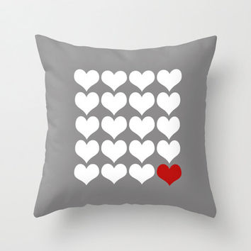 Valentines day heart throw pillow, home decor, decorative pillow cover, dorm room, red and gray design