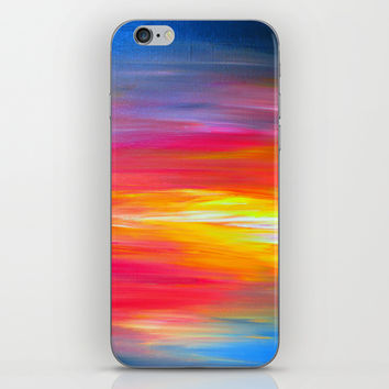 BRIGHT HORIZONS Bold Colorful Rainbow Pink Yellow Blue Abstract Painting Sunrise Sunset Stripes  iPhone & iPod Skin by EbiEmporium