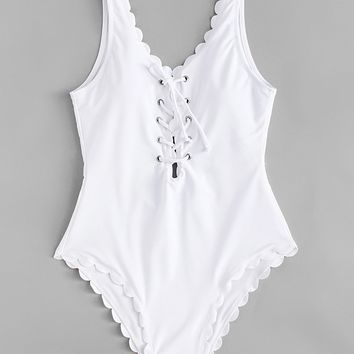 Lace Up Front Scallop Swimsuit