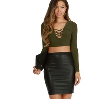 Olive Its Lattice Crop Top