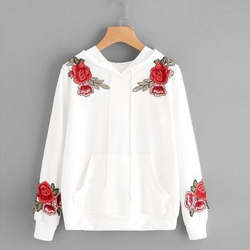CREYMS9 Fashion White Blouse Womens Long Sleeve Rose Embroidery Applique Hoodie Hooded Tops High Quality Cotton Blusas